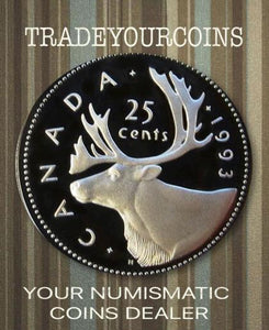 1993 Canada Nickel Quarter Proof Caribou - 25 Cents