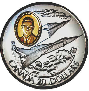 1996 Canada 20$ Avro Canada CF-105 Arrow-Aviation commemoratives Series two, Coin # 4