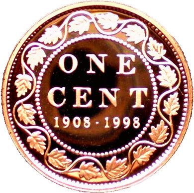 1908-1998  Canada 1 Cent Penny Proof Heavy Cameo