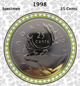 1998 Canada Nickel Quarter Specimen Caribou - 25 Cents