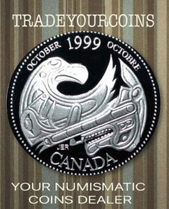 1999 Canada Sterling Silver Quarter Proof  - 25 Cents Commemorative October