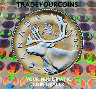 2000  Canada Sterling Silver Quarter Proof Caribou - 25 Cents