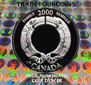 2000 Canada Sterling Silver Quarter Proof - 25 Cents Commemorative Millenium-August, Family