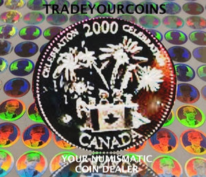 2000 Canada Nickel Coloured Quarter - 25 Cents Canada Day- UNC