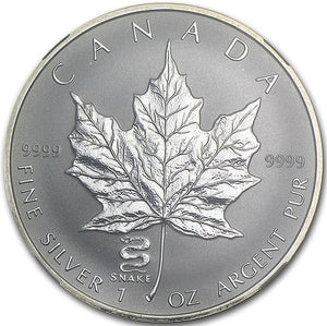 2001 Silver maple Leaf with Privy Marks-Snake