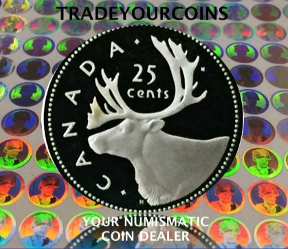 2002  Canada Sterling Silver Quarter Proof Caribou - 25 Cents