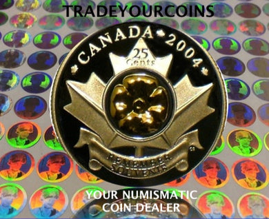 2004  Canada Sterling Silver Proof Poppy Quarter -Mint Annual Report 25 Cents