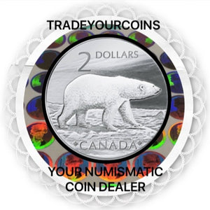 2004 Canada Proof Twoonie, Sterling Silver Two Dollars-proud Polar Bear