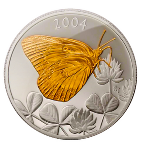 2004 Fifty Cents-Canadian Clouded Sulphur butterfly, Gold Plated