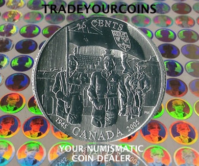 2005 Canada Sterling Silver Quarter -60 th Anniversary of the Liberation of the Netherlands 25 Cents