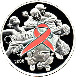 2006 Canada Fine Silver Five Dollars Coin-Breast Cancer Awareness