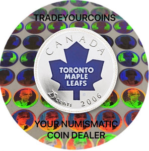 2006 p Canada Nickel Coloured Quarter - 25 Cents NHL Hockey Series-Toronto Maple Leafs Logo UNC