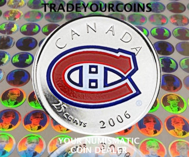 2006 p Canada Nickel Coloured Quarter - 25 Cents NHL Hockey Series-Montreal Canadiens Logo UNC