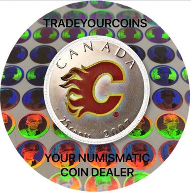 2007 Canada Nickel Coloured Quarter - 25 Cents NHL Hockey Series-Calgary Flames Logo UNC