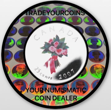 2007 Canada Nickel Coloured Quarter - 25 Cents From Wedding Gift Set-Bouquet UNC