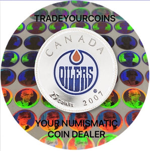 2007 Canada Nickel Coloured Quarter - 25 Cents NHL Hockey Series-Edmonton Oilers Logo UNC