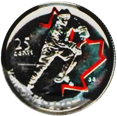 2007 Canada Nickel Plated Steel Quarter - 25 Cents, Sport Card-Painted Leaf-Ice Hockey