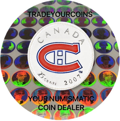 2007 Canada Nickel Coloured Quarter - 25 Cents NHL Hockey Series-Montreal Canadiens Logo UNC