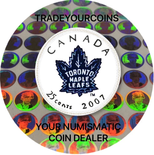 2007 Canada Nickel Coloured Quarter - 25 Cents NHL Hockey Series-Toronto Maple Leafs Logo UNC