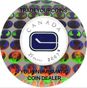 2007 Canada Nickel Coloured Quarter - 25 Cents NHL Hockey Series-Vancouver Canucks Logo UNC