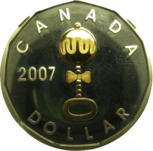 2007 Canada Proof Loonie Dollar Gold Plated Baby Rattle Sterling Silver
