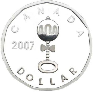 2007 Canada Proof Loonie Dollar Baby Rattle Sterling Silver