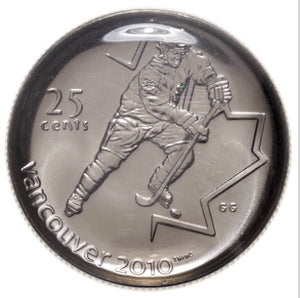 2007 Canada Nickel Plated Steel Quarter - 25 Cents, Bookmark and Lapel Pin-Ice Hockey