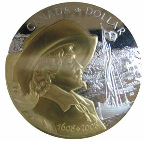 2008 Canada Silver Proof Dollar-Quebec City-Gold Plated