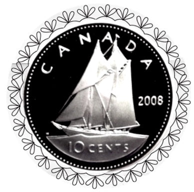 2008 Canada Ten Cents Silver proof Heavy cameo