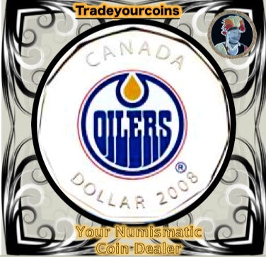 2008 Canada Nickel Edmonton Oilers Loonie Dollar From Canadian NHL Hockey Home Jersey Crest set