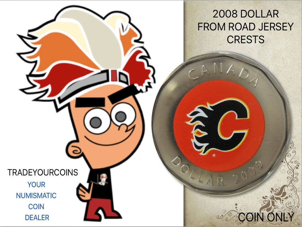 2008 Canada Nickel Calgary Flames Loonie Dollar From Canadian NHL Hockey Road Jersey Crest set