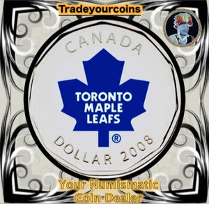 2008 Canada Nickel Toronto Maple Leafs Loonie Dollar From Canadian NHL Hockey Home Jersey Crest set