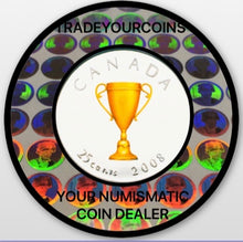 2008 Canada Nickel Coloured Quarter - 25 Cents From Congratulation Gift Set-Trophy UNC