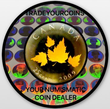 2009 Canada Nickel Coloured Quarter - 25 Cents From Oh Canada Gift Set-Four Maple Leafs UNC