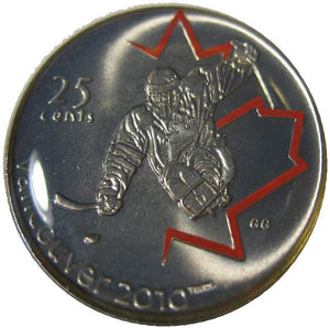 2009 Canada Nickel Plated Steel Painted Leaf Quarter - 25 Cents, Sport Card-Ice Sledge Hockey