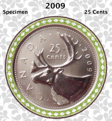 2009 Canada Nickel Quarter Specimen Caribou - 25 Cents