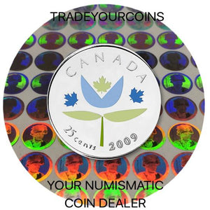 2009 Canada Nickel Coloured Quarter - 25 Cents From Thank You Card-Stylized Flower UNC