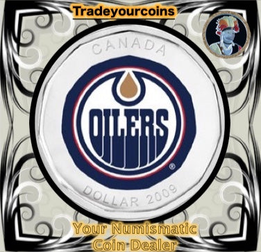 2009 Canada Nickel Edmonton Oilers Loonie Dollar From Canadian NHL Hockey Home Jersey Crest set