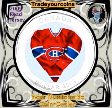 2009 Canada Nickel Montreal Canadiens Loonie Dollar From Canadian NHL Hockey Road Jersey Crest set