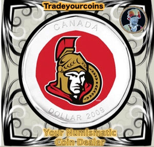 2009 Canada Nickel Ottawa Senators Loonie Dollar From Canadian NHL Hockey Home Jersey Crest set