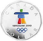 2010 Canada Olympic Silver Lucky Loonie Inukshuk coloured Coin Sterling