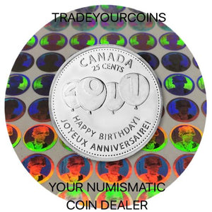 2011 Canada Nickel Coloured Quarter - 25 Cents From Birthday Set-Four Balloons UNC