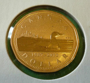 2012 Canada Specimen  Loonie Double Date 25 Th Anniversary Dollar