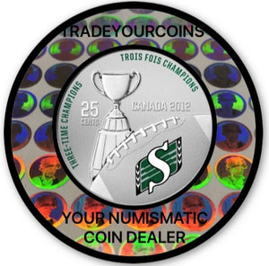 2012 Canada Cupronickel Quarter - 25 Cents Canadian football League-Saskatchewan Roughriders