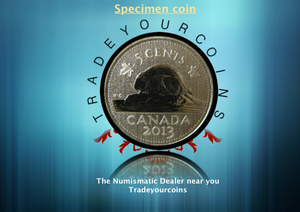 2013 Canada Five Cents Specimen Nickel Beaver