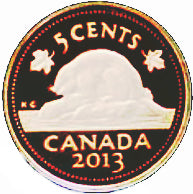 2013 Canada Five Cents Fine Silver proof Heavy cameo