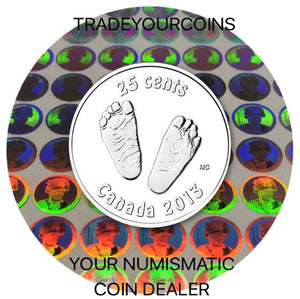 2013 Canada Nickel Coloured Quarter - 25 Cents From Baby Gift Set-Baby's Feet UNC