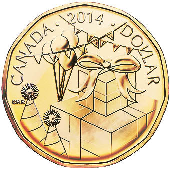 2014 Canada Uncirculated Loonie Dollar from Birthday Gift Set-Gift Design