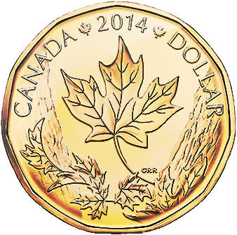 2014 Canada Uncirculated Loonie Dollar from O Canada Gift Set-Maple Leaf Design