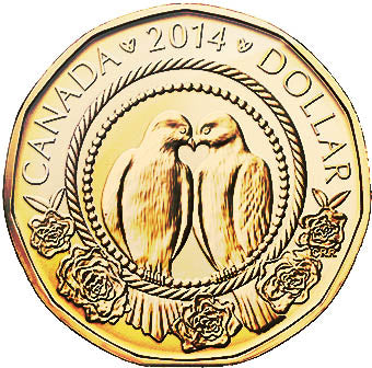 2014 Canada Uncirculated Loonie Dollar from Wedding Gift Set-Love Birds Design